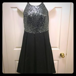 TORRID formal halter dress, black sequins